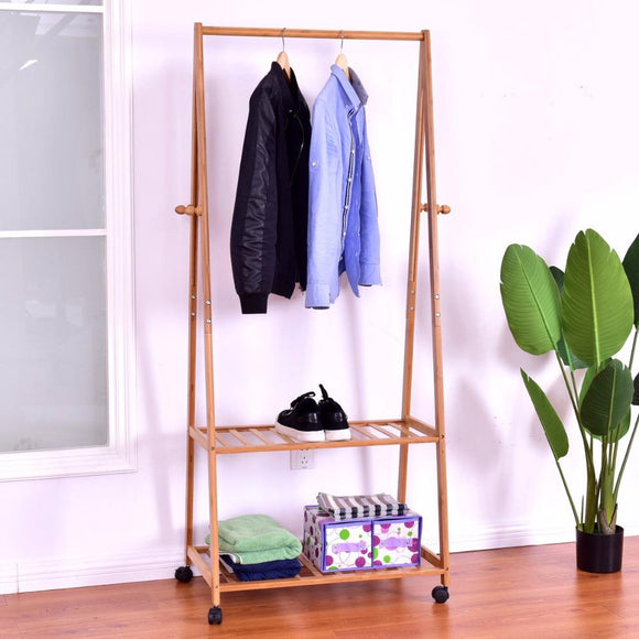 Bamboo Garment Rack with Shelves and Wheels