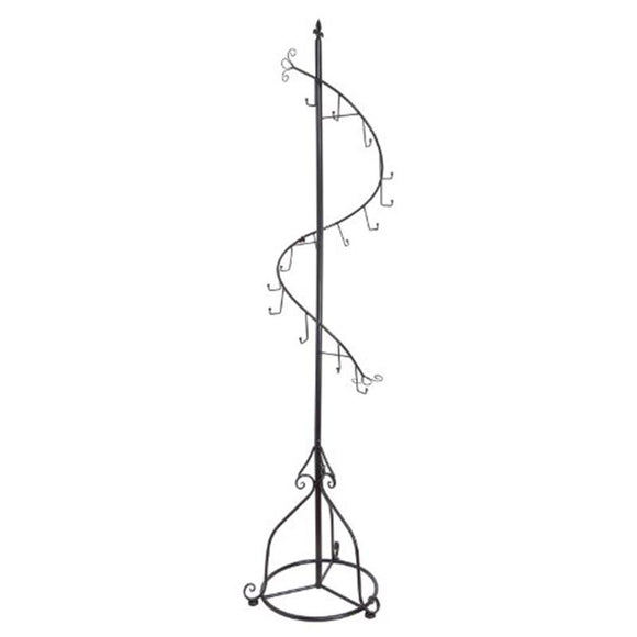 Elegant Black Metal 14 Hook Spiral Coat Hanger / Bag Display / Garment Rack Stand Metal Tree Style