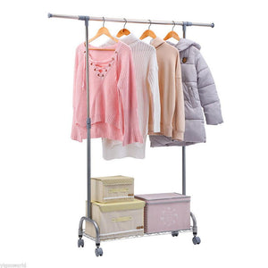 Mini Layer Network Horizontal Bar Adjustable Garment Rack Hanger Silver