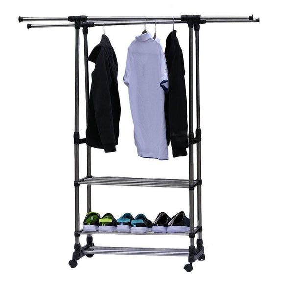 Dual Bars Horizontal & Vertical Telescope Style 3 Tiers Stainless Steel Clothing Garment Shoe Rack B