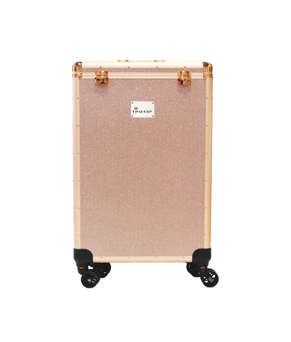 Rose Gold Crystal DivaDolly | Rolling Dance Bag Alternative with a Wardrobe Rack