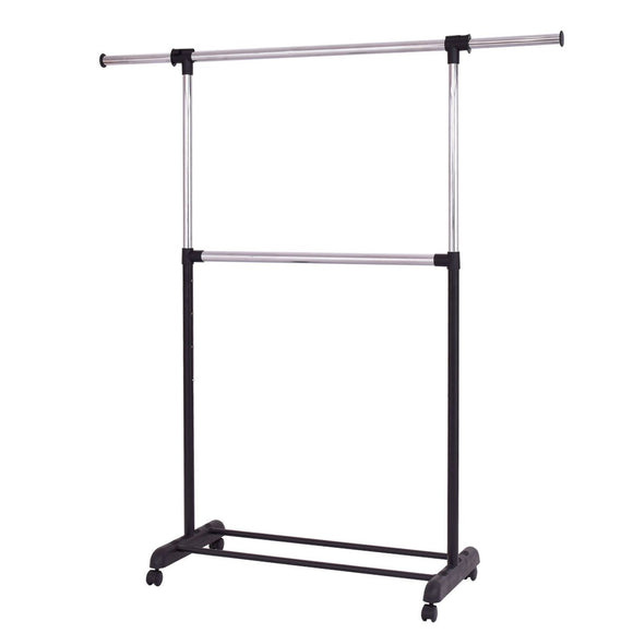 2 Rod Garment Rack Adjustable Clothes Hanger