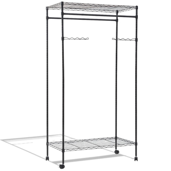 Double Hanging Rolling Adjustable Rod Portable Garment Rack
