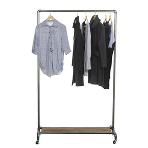 65-Inch Industrial Pipe Rolling Garment Rack with Wooden Shelf & Lockable Caster Wheels