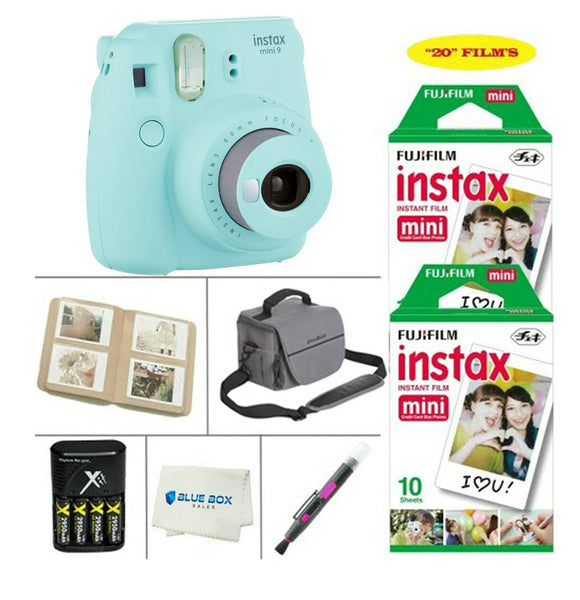 Fujifilm Mini 9 Instant Film Camera - Fujifilm Instax Film 20 PCS - Battery & Cahrger - Photo Album - Case