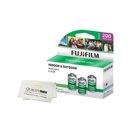 Fujifilm Fujicolor 200 Color Negative Film ISO 200, 35mm Size, 180 Exposure + Quality Photo Ultra Soft Microfiber Cloth