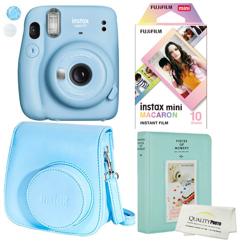 Fujifilm Instax Mini 11 Polaroid Ice Blue Instant Camera Plus Original Fuji Case, Photo Album and Fujifilm Character 10 Films (Macaron)