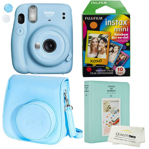 Fujifilm Instax Mini 11 Polaroid Ice Blue Instant Camera Plus Original Fuji Case, Photo Album and Fujifilm Character 10 Films (Rainbow)