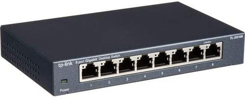 TP-Link 8 Port Gigabit Ethernet Network Switch | Ethernet Splitter | Sturdy Metal w/ Shielded Ports | Plug-and-Play | Traffic Optimization | Unmanaged (TL-SG108) (Certified Refurbished)