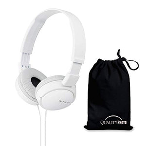 Sony MDRZX110 ZX Series Stereo Headphones (White) with Ultra Soft Travelers Pouch