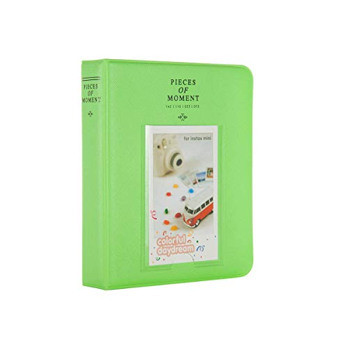 Quality Photo Instax Mini Photo Album. 64 Pocket Polaroid Mini Pocketsize Album. Compatible with Fuji Mini Instax Camera Films. (Green)