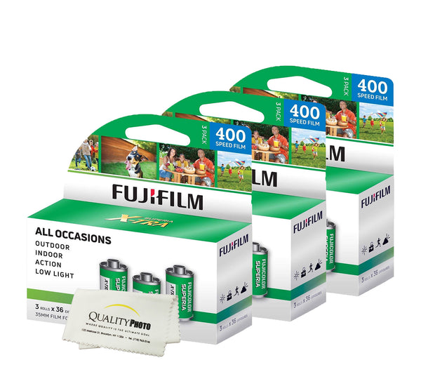 Fuji Superia X-TRA 3 Pack ISO 400 36 Exp. 35mm Film, Total 108 Exposures + Quality Photo Ultra Soft Microfiber Cloth