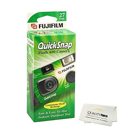 Fujifilm QuickSnap Flash 400 Disposable 35mm Camera + Quality Photo Microfiber Cloth