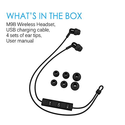 MEE audio M9B Bluetooth Wireless Noise-Isolating In-Ear Stereo Headphones with Headset Functionality (Old Version)
