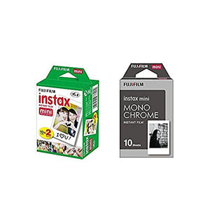 Fujifilm Instax Mini Instant Film 2-PACK BUNDLE SET, Twin Pack Film ( 20 ) + Film Monochrome ( 10 ) for Mini 90 8 70 7s 50s 25 300 Camera SP-1 Printer
