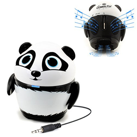 GOgroove Cute Animal Rechargeable Portable Speaker with Passive Subwoofer (Groove Pal Panda) Speaker for Kids Stereo Drivers, Retractable 3.5mm AUX Cable - Plug Into Tablets, Phones, More