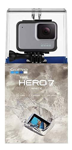 GoPro HERO7 White - W/SanDisk Extreme 32GB Micro SDHC, with an Essential Accessory Kit Bundle, Includes: Car Mount, Head Strap, Wrist Strap, Extendable Monopod, Carrying Case - Large + More