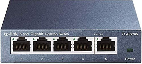TP-Link 5 Port Gigabit Ethernet Network Switch | Ethernet Splitter | Sturdy Metal w/ Shielded Ports | Plug-and-Play | Traffic Optimization | Unmanaged (TL-SG105) (Certified Refurbished)