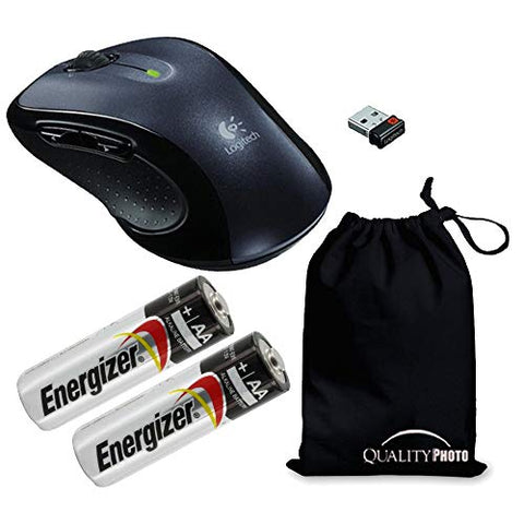 Logitech M510 Wireless Mouse with A Ultra Soft Travelers Pouch, Bundle Includes M510 Wireless Mouse + 2 Energizer AA Batteries + Quality Photo Travel Pouch