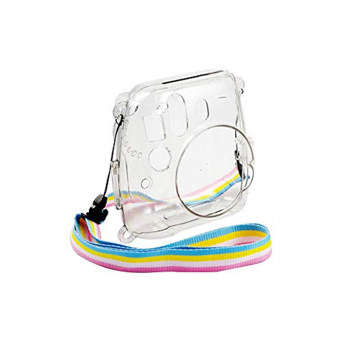 QUALITY PHOTO Clear Camera Case for Fujifilm Instax Mini 8/Mini 8+/Mini 9 Instant Camera + Adjustable Rainbow Shoulder Strap