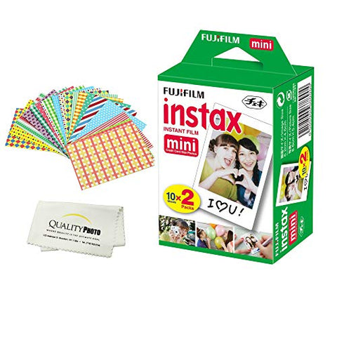 Fujifilm INSTAX Mini Instant Film 2 Pack - 20 Sheets - (White) for Fujifilm Instax Mini 8 & Mini 9 Cameras + Frame Stickers and Microfiber Cloth Accessories