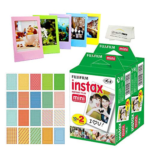 Fujifilm Instax Mini Instant Film (4 Pack = 40 Sheets) For Fujifilm Mini 9 or Mini 8 Camera + 5 Colored Frames + 20 Assorted Colorful Sticker Frames + Microfiber cloth by Quality Photo