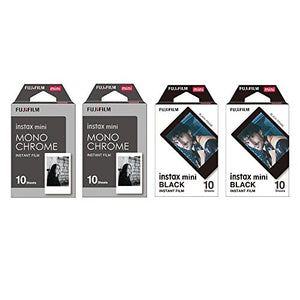 Fujifilm Instax Mini Instant Film 4-PACK BUNDLE SET, Monochrome ( 10 x 2 ) + Black Frame ( 10 x 2 ) 90 8 70 7s 50s 25 300 Camera SP-1 Printer