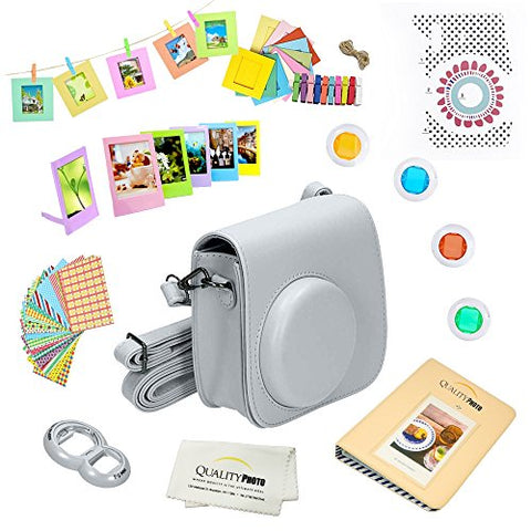 Quality Photo Instant Camera 12-Piece Accessories Kit Bundle -Smokey White- Compatible For Fujifilm Instax Mini 8 & Mini 9 Camera Includes; Case W/Strap, Lens Filters, Photo Album & Frames + More