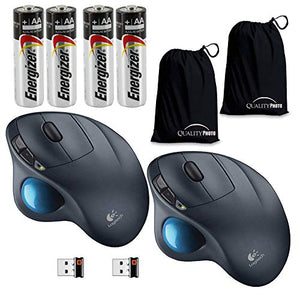 Logitech M570 Wireless Trackball Mouse 2 Pack-with A Ultra Soft Travel Pouch, Bundle Includes 2 M570 Wireless Mouse + 4 Energizer AA Batteries + 2 Quality Photo Travel Pouch