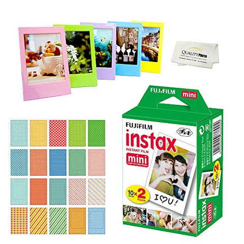 Fujifilm Instax Mini Instant Film 2 Pack = 20 Sheets for Fujifilm Mini 9 or Mini 8 Camera + 5 Colored Frames + 20 Assorted Colorful Sticker Frames + Microfiber Cloth by Quality Photo
