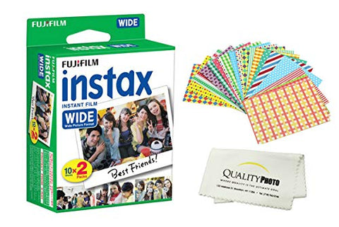 Fujifilm INSTAX Wide Instant Film 20 Pack - 20 Sheets - (White) for Fujifilm Instax Wide Cameras + Frame Stickers and Microfiber Cloth Accessories