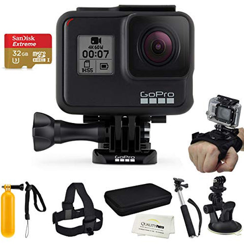 GoPro Hero 7 Black + SanDisk Extreme 32GB Micro SDHC, Essential Accessory Kit Bundle, Includes: Car Mount, Head Strap, Wrist Strap, Extendable Monopod, Carrying Case Large + More
