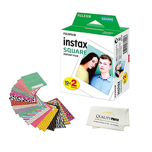 Fujifilm Instax Square Instant Film and Stickers for The Fujifilm instax Square Instant Camera + Quality Photo Microfiber Cloth. 20, 40, 60, 80, or 100 Films