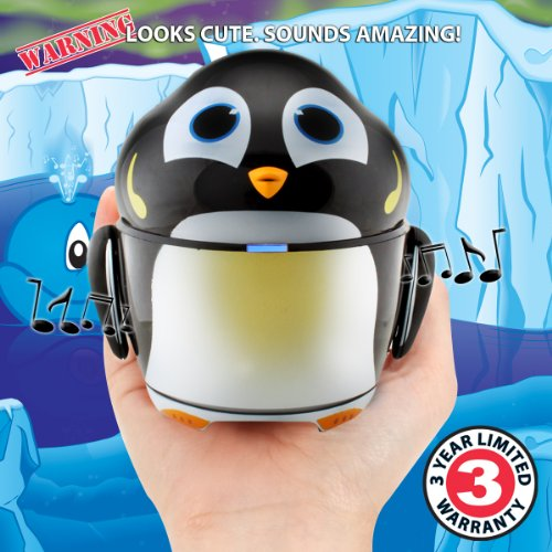 GOgroove Cute Animal Rechargeable Portable Speaker with Passive Subwoofer (Groove Pal Penguin) Speaker for Kids Stereo Drivers, Retractable 3.5mm AUX Cable - Plug Into Tablets, Phones, More