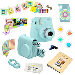 Fujifilm Instax Mini 9 Camera + 14 PC Instax Accessories kit Bundle, Includes; Instax Case + Album + Frames & Stickers + Lens Filters + MORE