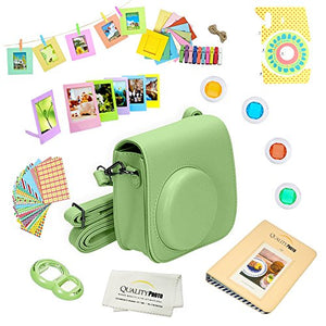 Quality Photo Instant Camera 12-Piece Accessories Bundle -Lime Green- Compatible For Fujifilm Instax Mini 8 & Mini 9 Camera Includes; Case W/Strap, Lens Filters, Photo Album & Frames + More