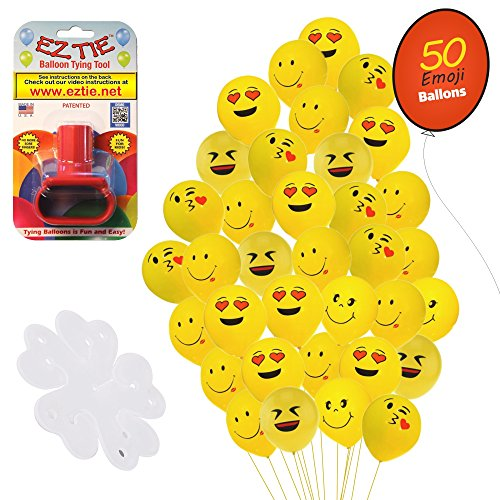 "QP Latex Emoji Smiley Face 12"" Balloons, (50 Pack). w/Balloon Tying Tool and 5 Flower Clips Accessory - Party Supplies"