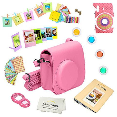 Quality Photo Instant Camera 12-Piece Accessories Bundle -Flamingo Pink- Compatible w/Fujifilm Instax Mini 8 & Mini 9 Camera Includes; Case W/Strap, Lens Filters, Photo Album & Frames + More