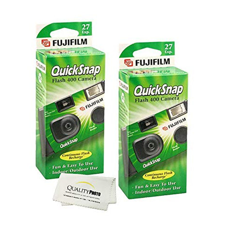 Fujifilm QuickSnap Flash 400 Disposable 35mm Camera + Quality Photo Microfiber Cloth (2 Pack)