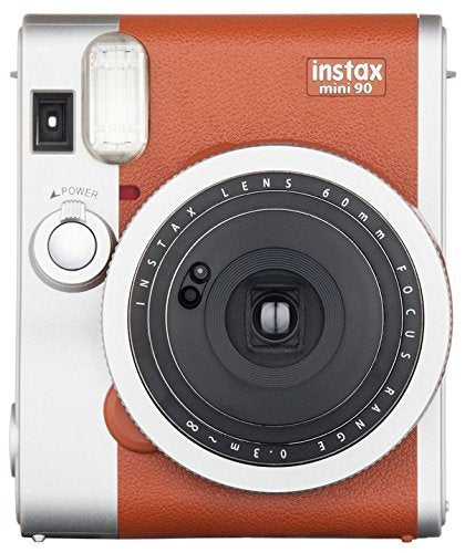 Fujifilm instax mini 90 Instant Film Camera + Fujifilm instax Film 20 Sheets + Extra Accessories Kit (Brown)