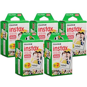 Fujifilm Instax Mini Instant Film, 5 Double packs of 20 sheets (100 Sheets) To use with all  Instant Mini Film Cameras