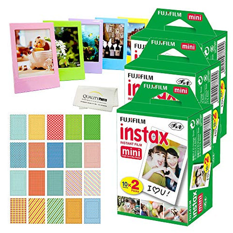 Fujifilm Instax Mini Instant Film, (6 Pack = 60 Sheets) for Fujifilm Mini 9 or Mini 8 Camera + 5 Colored Frames + 20 Assorted Colorful Sticker Frames + Microfiber Cloth by Quality Photo
