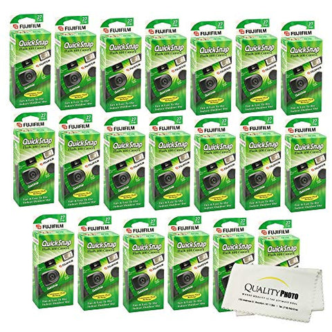 Fujifilm QuickSnap Flash 400 Disposable 35mm Camera + Quality Photo Microfiber Cloth (20 Pack)