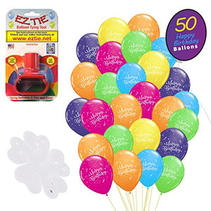 "QP Latex Happy Birthday 12"" Balloons, (50 Pack). w/Balloon Tying Tool and 5 Flower Clips Accessory - Party Supplies"