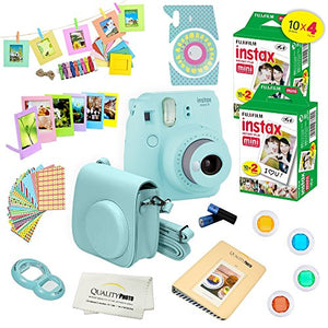 Fujifilm Instax Mini 9 Camera + Fuji INSTAX Instant Film (40 SHEETS) + 14 PC Instax Accessories kit Bundle, Includes; Instax Case + Album + Frames & Stickers + Lens Filters + MORE