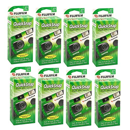 Fujifilm QuickSnap Flash 400 Disposable 35mm Camera + Quality Photo Microfiber Cloth (8 Pack)