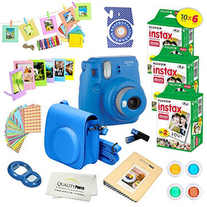 Fujifilm Instax Mini 9 Instant Camera w/ Fujifilm Instax Mini 9 Instant Films (60 Pack) + A14 Pc Deluxe Bundle For Fujifilm Instax Mini 9 Camera