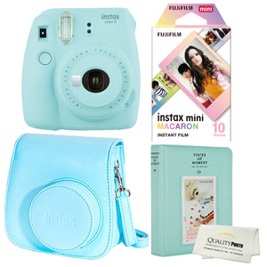 Fujifilm Instax Mini 9 Polaroid Ice Blue Instant Camera Plus Original Fuji Case, Photo Album and Fujifilm Macaron 10 Films