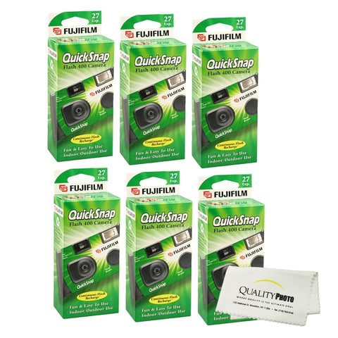 Fujifilm QuickSnap Flash 400 Disposable 35mm Camera (6 Pack)+ Quality Photo Microfiber Cloth
