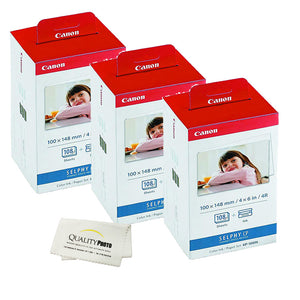 Canon KP-108IN -3 Pack- 3 Color Ink Cassette, 324 Sheets 4 x 6 Paper Glossy For SELPHY CP1300, CP1200, CP910, CP900, CP760, CP770, CP780 CP800. Bonus: Quality Photo Microfiber Cloth